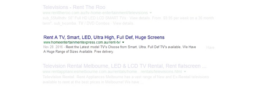 Google Search Results for Rent TV