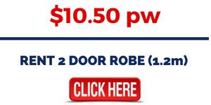 RENT BEDROOM FURNITURE - RENT RENT 2 DOOR ROBE (1.2m)